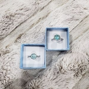 Blue Topaz simulated stone rings